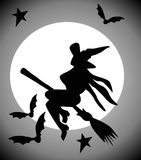 Flying witch. Cartoon graphic depicting a witch (concept: Halloween Royalty Free Stock Photos