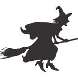 Flying witch on broom Royalty Free Stock Photo