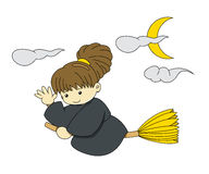 Flying Witch with broom. Young girl wearing witch cloth flying with broom and saying hello on Halloween Royalty Free Stock Photo