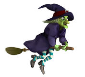 Flying witch on a broom. 3 d flying witch on a broom Royalty Free Stock Images