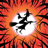 Flying witch on the broom. In the dark red sky Stock Photo