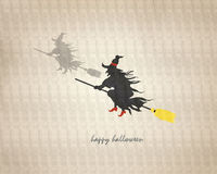 Flying witch with a broom. Royalty Free Stock Photos
