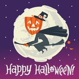 A flying witch on a broomstick on a background of the moon. Happy Halloween postcard, poster, background or party invitation Royalty Free Stock Images