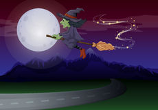 A flying witch Stock Image