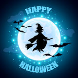 Flying witch on moon background Halloween concept Royalty Free Stock Photography