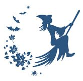 Flying witch silhouette. Dark blue silhouette of a witch on broom, flying leaves  and bats Stock Images