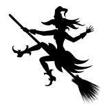 Flying witch silhouette. Witch flying on broom vector silhouette icon for halloween Stock Photos