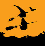 Flying witch silhouette on orange. Vector Halloween illustration. Black silhouette of a witch flying on a broom over a sea. Orange background. Square format Stock Photography