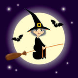 Flying witch square format. Vector Halloween illustration of a cute cartoon witch flying on a broomstick. Dark purple night sky with shiny moon and stars on the Royalty Free Stock Photography