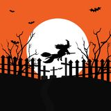 A flying witch with a terrible cemetery in the forest on the full moon. Vector illustration stock illustration