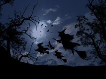 Flying witches Royalty Free Stock Images