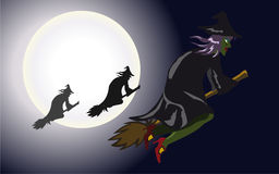 Flying witches. Witches flying in a group during Halloween night royalty free illustration