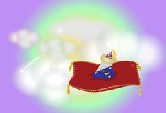 A flying wizard. A wizard on a magic flying carpet Royalty Free Stock Photography
