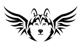 Flying wolf tattoo. Flying wolf. Tribal tattoo design. Black illustration isolated on white Royalty Free Stock Image