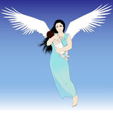 Flying woman with child Royalty Free Stock Images