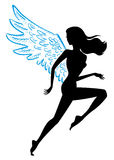 Flying woman. Fast female runner with wings Stock Image