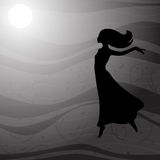 Flying woman in long dress with long hair Stock Images