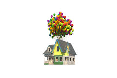 Flying wooden house Royalty Free Stock Photography