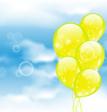 Flying yellow balloons in blue sky. Illustration flying yellow balloons in blue sky - vector Royalty Free Stock Photo