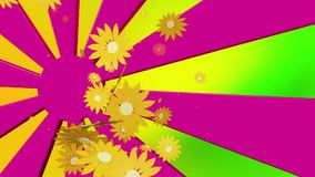 Flying yellow flowers on sunburst stock footage