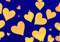Flying yellow hearts on blue backgrounds Stock Image