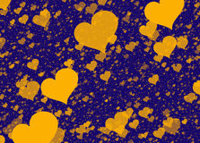 Flying yellow hearts on blue backgrounds. Love texture Royalty Free Stock Images