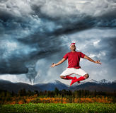 Flying yoga against Hurricane Stock Image