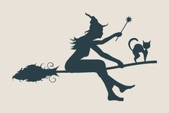 Flying young witch icon. Witch silhouette on a broomstick