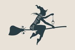 Flying young witch icon. Witch silhouette on a broomstick Stock Image