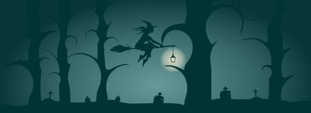 Flying young witch icon. Witch silhouette on a broomstick Royalty Free Stock Image