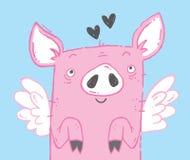 Cute flying pig illustration. Vector file stock illustration