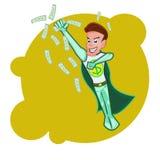 Flyingsuperhero商人动画片传染媒介 免版税图库摄影