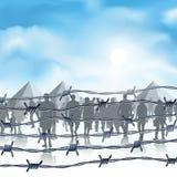 Flyktingar bak försett med en hulling - tråd stock illustrationer
