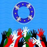 Flyktingar i det Europa begreppet Arkivfoton