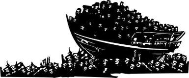 Flyktingar på havet stock illustrationer