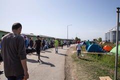 Flyktingar som bildar en väntande linje i Tovarnik Royaltyfria Bilder