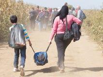 Flyktingar som går till och med fälten nära Kroatien Serbien, gränsar, mellan städerna av Sid Tovarnik på den Balkans rutten royaltyfri fotografi