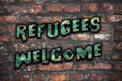 Flyktingar välkomnar grafitti stock illustrationer