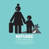 Flyktingevakuerad personsymbol royaltyfri illustrationer