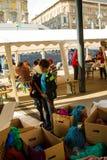 Flyktingkris, i Budapest, Ungern på September 15th 2015 Royaltyfri Foto
