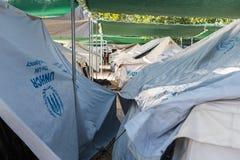 Flyktingläger av Lagadikia, Grekland Royaltyfri Fotografi