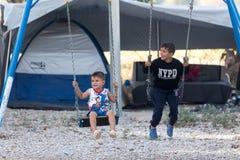 Flyktingläger av Lagadikia, Grekland Royaltyfri Bild