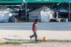 Flyktingläger av Lagadikia, Grekland Arkivfoto