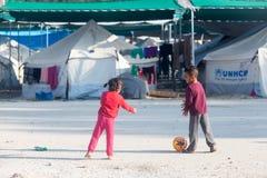 Flyktingläger av Lagadikia, Grekland Royaltyfria Foton