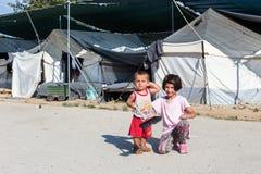 Flyktingläger av Lagadikia, Grekland Arkivfoton