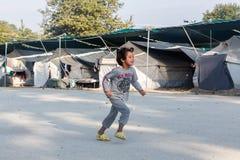 Flyktingläger av Lagadikia, Grekland Fotografering för Bildbyråer