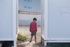 Flyktingläger av Lagadikia, Grekland Royaltyfri Foto