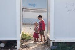 Flyktingläger av Lagadikia, Grekland Arkivbild