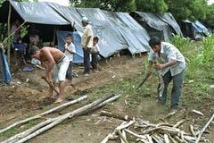 Flyktingläger av landless folk i Guatemala royaltyfri foto
