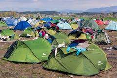 Flyktingläger i Grekland Arkivbild